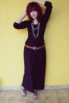 black Xaviera A dress - brown vintage belt - white vintage necklace