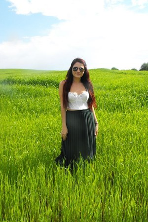 forest green Marks and Spencer skirt - white second hand bustier top