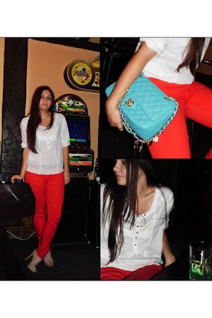 white Zara shirt - light blue leather Chanel purse - red Bershka pants