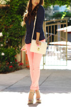light pink jeans - navy shirt - white bag - eggshell heels