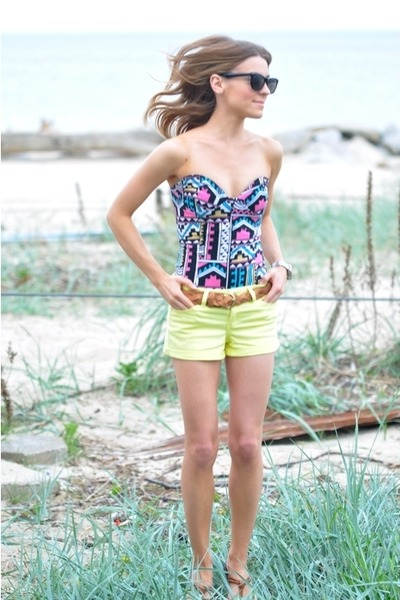 Mango top - light yellow shorts - brown belt - brown sandals