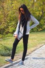 Silver-shoes-black-jeans-silver-jacket-black-scarf-silver-bag