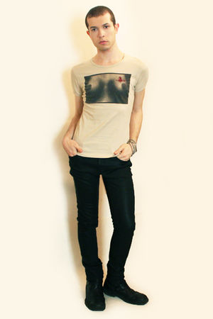 beige vivienne westwood t-shirt - black Zara pants - black boots - silver Topman