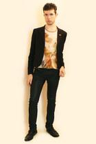 light orange vivienne westwood t-shirt - black Npfeel blazer - black Zara pants