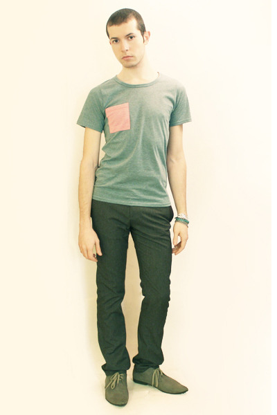 green t-shirt - gray Zara pants - gray H&M shoes - Silver Topman bracelets - Gre