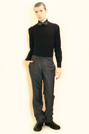 black Misaky shirt - gray H&M tie - black vest - gray Zara pants - black boots