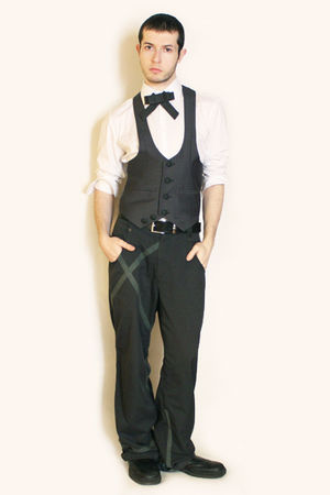 white Misaky shirt - gray Etsy tie - gray from harajuku vest - gray pants - blac