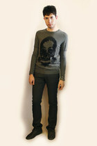 heather gray Zara shoes - heather gray Sisley sweater - heather gray Zara pants