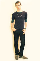 blue t-shirt - blue Zara jeans - gray H&M shoes - silver Topman necklace - H&M b