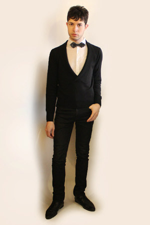 black Zara shoes - ivory H&M shirt - black Zara pants - black Sisley cardigan -
