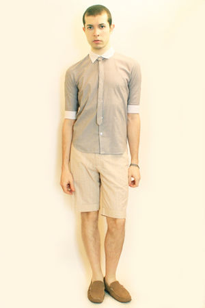 beige H&M shorts - brown H&M shoes - silver Hanjiro shirt