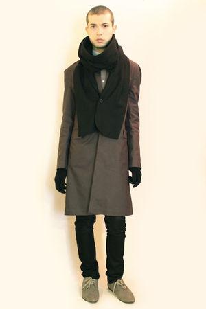 gray H&M coat - gray H&M shoes - gray Hanjiro shirt - black Deepstyle scarf