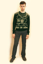 green vivienne westwood sweater - charcoal gray Zara pants - gray Zara shoes