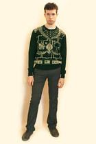 green vivienne westwood sweater - charcoal gray Zara pants - gray Zara shoes