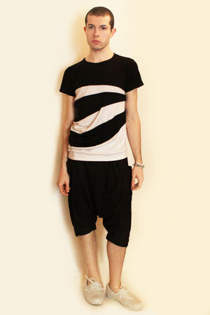 white t-shirt - black Deepstyle pants - white H&M shoes - silver Topman accessor