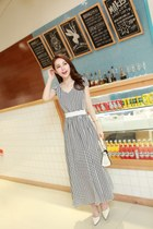 Maxi Grid Pattern Chiffon Dress YRB0110