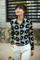 Floral print long sleeve chiffon blouse top shirt ghl0129