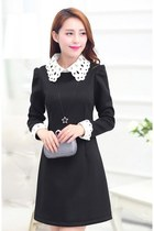 Classy Mini Dress Crocheted Collar and Cuffs YRB0317