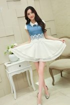 A-Line Layered Skirt Denim Top Summer Dress YRB0507