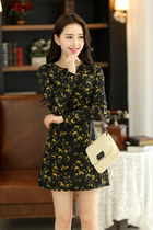 floral print long sleeve elegant dress GHL0002