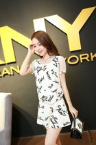What A Feeling Print White Chiffon Dress YRB0106