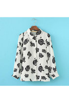 Korean bat sleeve lapel roses printing blouse shirt ghl2700