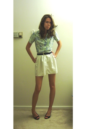 my grandmas shirt - altered vintage skirt - by brothers belt