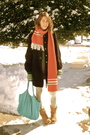 Red-made-by-grandma-scarf-black-forever-21-coat-beige-walmart-boots