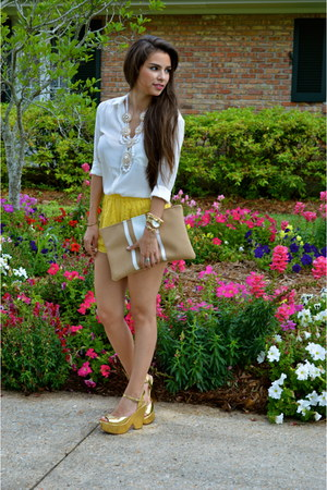 white blouse H&M shirt - camel Dolce Vita shoes