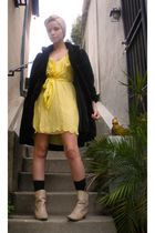 yellow Forever 21 dress - vintage coat