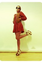 bronze Jeffrey Campbell wedges - tawny Nasty Gal dress
