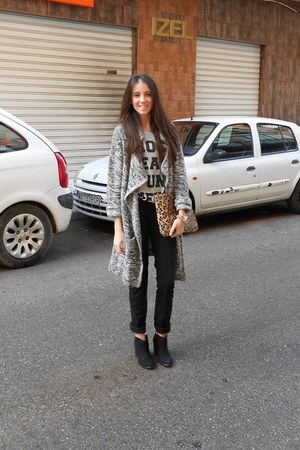 Lefties cardigan - Bershka boots - Lefties purse - suiteblanco watch
