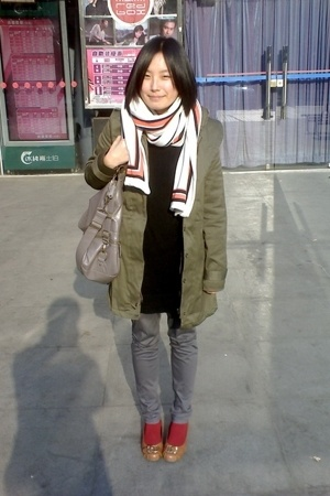 Giordano Concepts scarf -  coat - TH dress - CnE shoes - H&M bracelet - casio