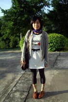 white words TH dress - brown vintage NANING9 shoes - gray cardigan coat