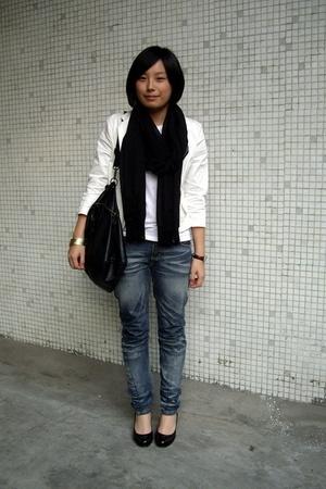 H&M bracelet - Zara t-shirt - twopercent coat -  jeans - NEDNEDY shoes - scarf