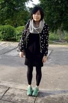 twpercent scarf - H&M jacket - TH dress - jansport purse - New Balance shoes