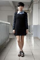 blue NANING9 shirt - black chapel dress - black puzzle shoes