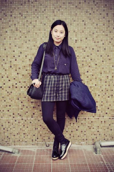 forest green asos shorts - black Katie Judith shoes - navy chapel shirt