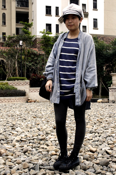 gray Uniqlo hat - blue H&M dress - blue FIRST MING shirt - gray H&M leggings - b