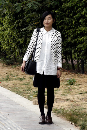 white chapel shirt - white DIZEN blazer - black twopercent skirt - black bag - b