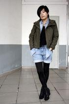 green ZEEK jacket - blue H&M shirt - black S-X sweater - blue Uniqlo shorts - bl