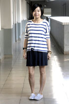 white H&M t-shirt - blue H&M dress - gray rubi shoes