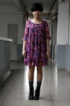 purple dress - gray stockings - black Katie Judith shoes