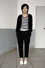 Black-giordano-cardigan-black-5cm-t-shirt-white-baby-jane-belt-black-pants