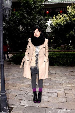 beige Topshop coat - black H&M scarf - beige Topshop vest - gray H&M skirt - pur