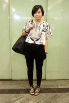 white H&M t-shirt - black united colors of benetton bag - black Giordano Concept