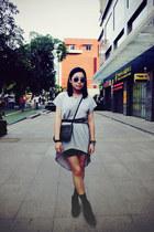 gray H&M skirt - black Bata boots - black studs prezzo bag