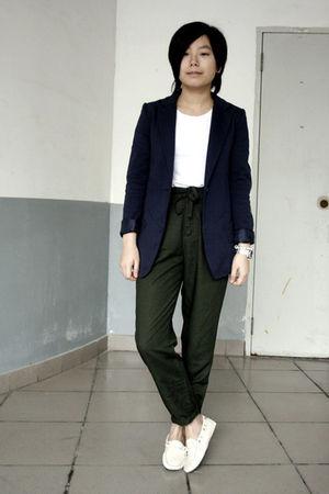 blue McQueen blazer - white H&M t-shirt - green Uniqlo pants - white shoes