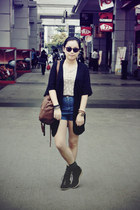 brown bag - blue denim shorts - dark green rubi socks - black OFIER cardigan - t