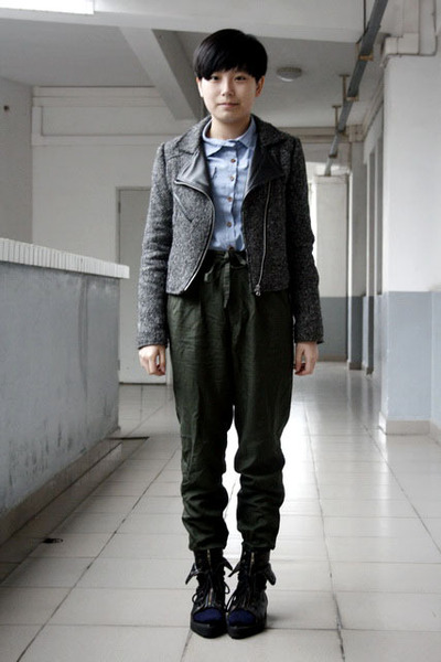 gray jacket - blue NANING9 shirt - green Uniqlo pants - blue Uniqlo socks - blac